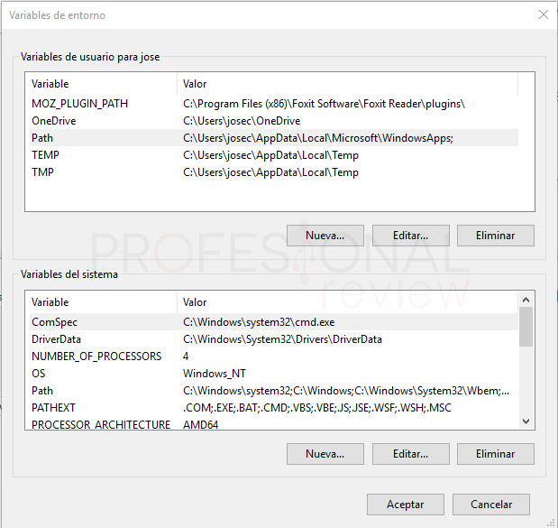 Variables de entorno Windows 10 tuto05