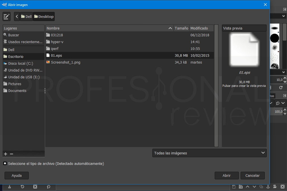 Abrir un archivo EPS paso 02