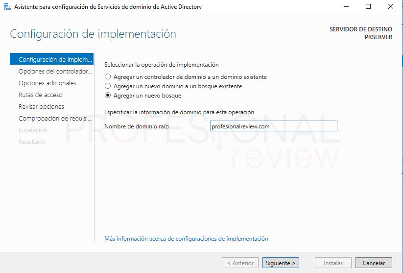 Active Directory en Windows Server 2016 paso 17