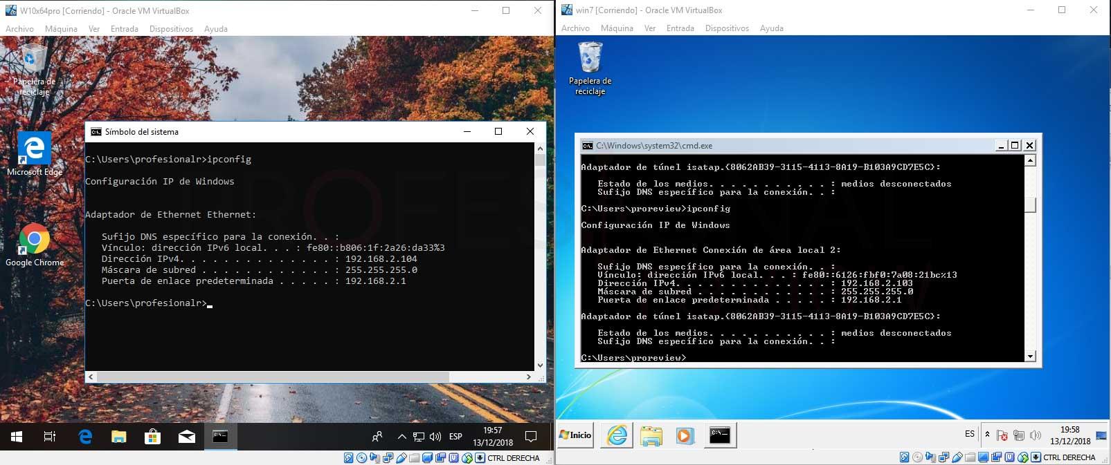 Conectar dos máquinas virtuales en red VirtualBox paso 10