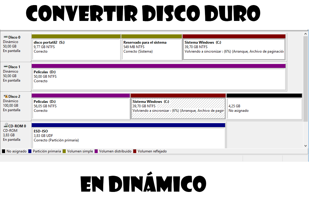 Convertir en disco dinámico