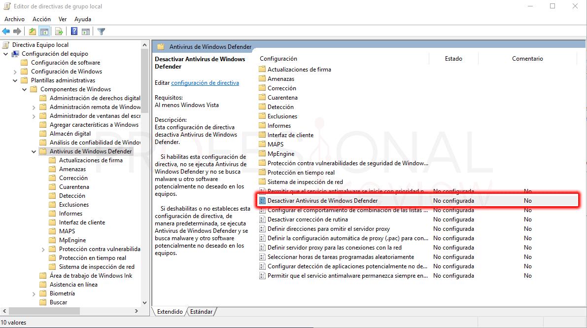 Directiva de grupo desactivar Windows Defender paso 04