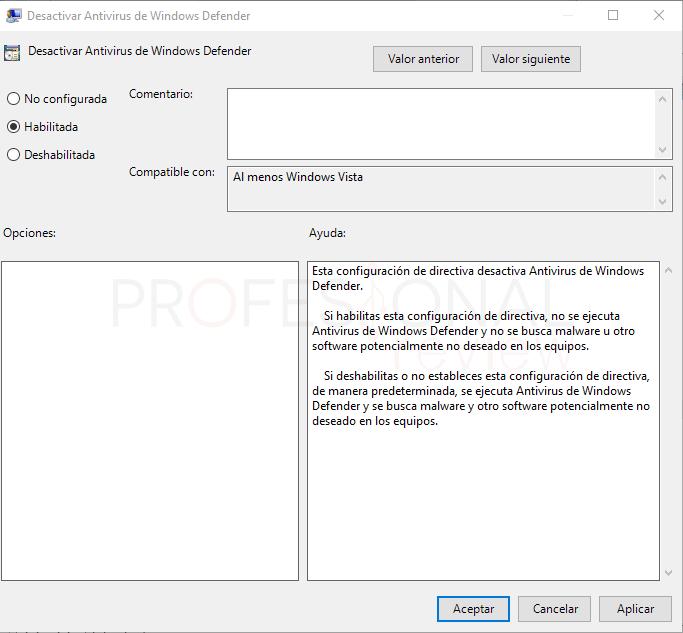 Directiva de grupo desactivar Windows Defender paso 05