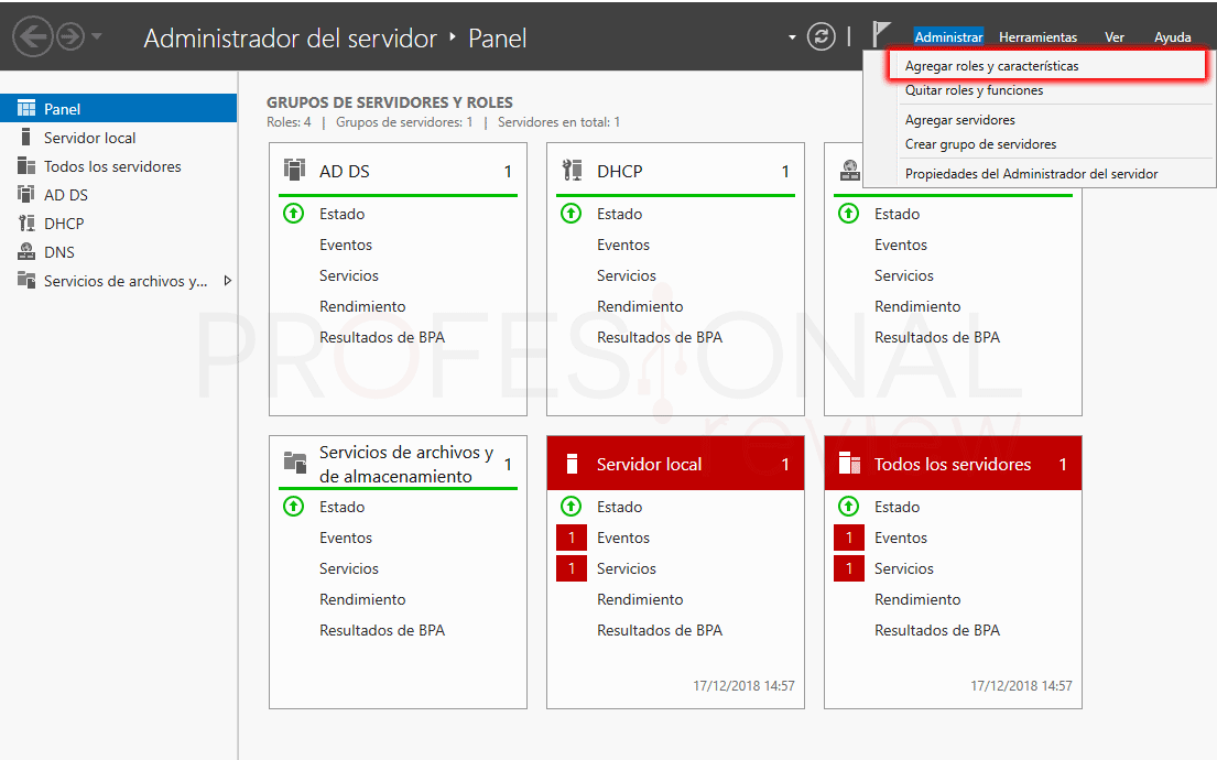 Servicio de enrutamiento en Windows Server 2016 paso 01