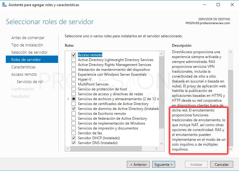 Servicio de enrutamiento en Windows Server 2016 paso 4