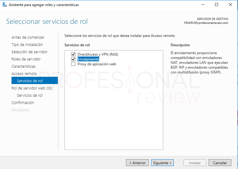 Servicio de enrutamiento en Windows Server 2016 paso 5