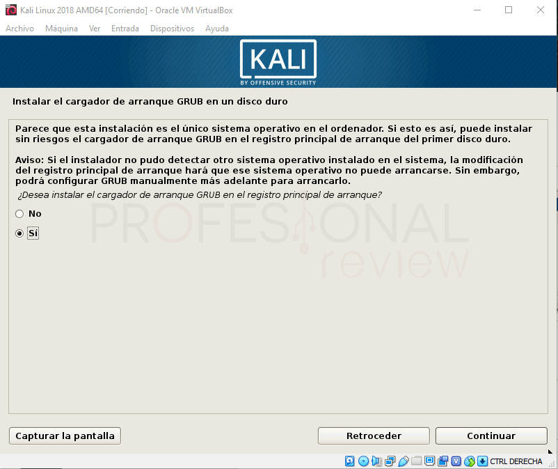 Instalar Kali Linux en VirtualBox paso 17