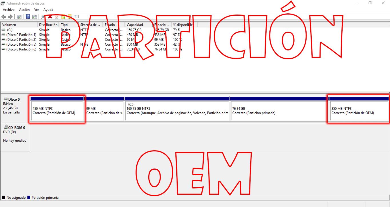 Partición OEM