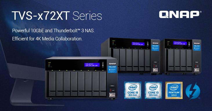 QNAP NAS TVS-x72XT ofrece HDMI 2.0 y ranuras para SSD M.2 PCIe NVMe