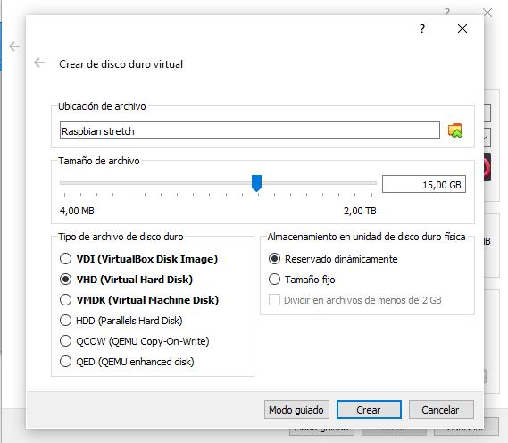Instalar Raspbian en VirtualBox paso 03