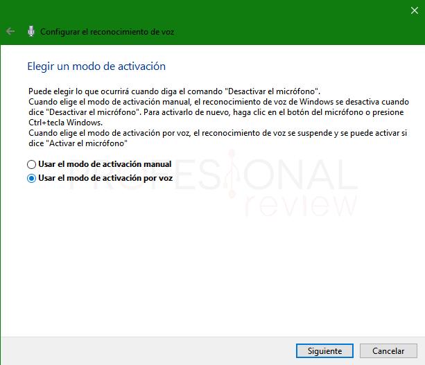Reconocimiento de voz en Windows 10 paso 06