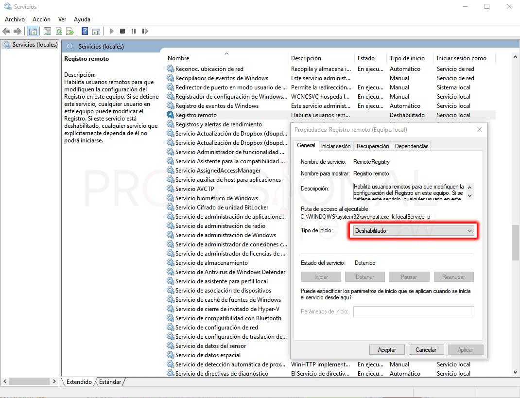 Desactivar el acceso al registro paso 02