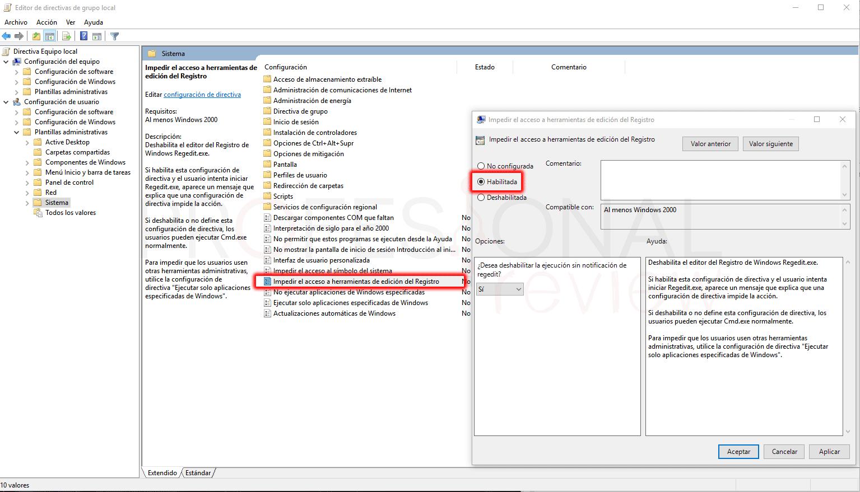 Desactivar el acceso al registro paso 03