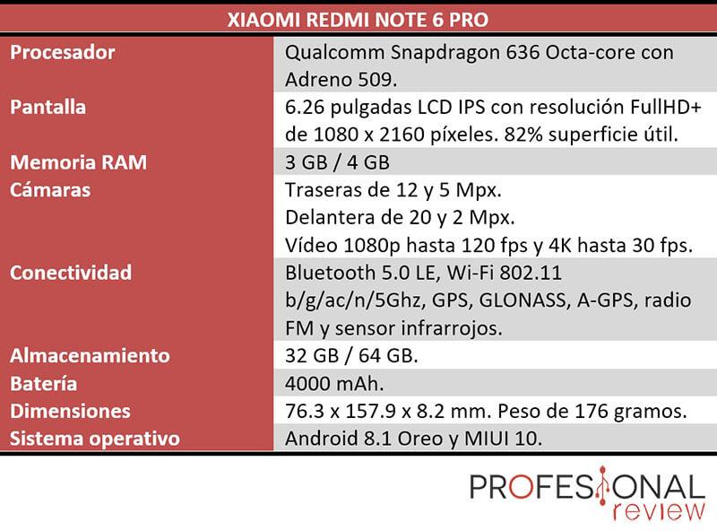 Xiaomi Redmi Note 6 Pro características tecnicas