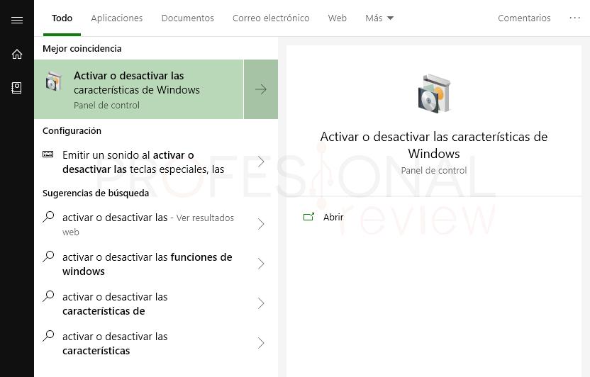 Deshabilitar Hyper-V en Windows 10 paso 01