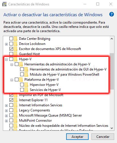 Deshabilitar Hyper-V en Windows 10 paso 04