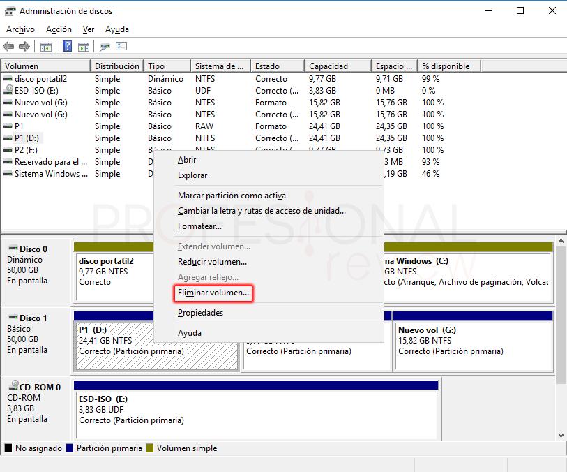 Eliminar particiones en Windows 10 paso 03