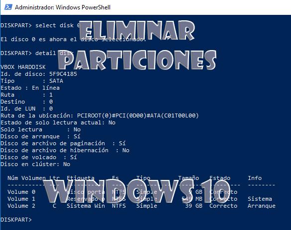 Eliminar particiones en Windows 10