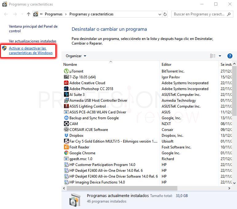 Habilitar Hyper-V en Windows 10 paso 04