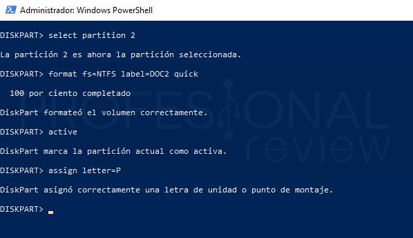Particionar USB paso 13