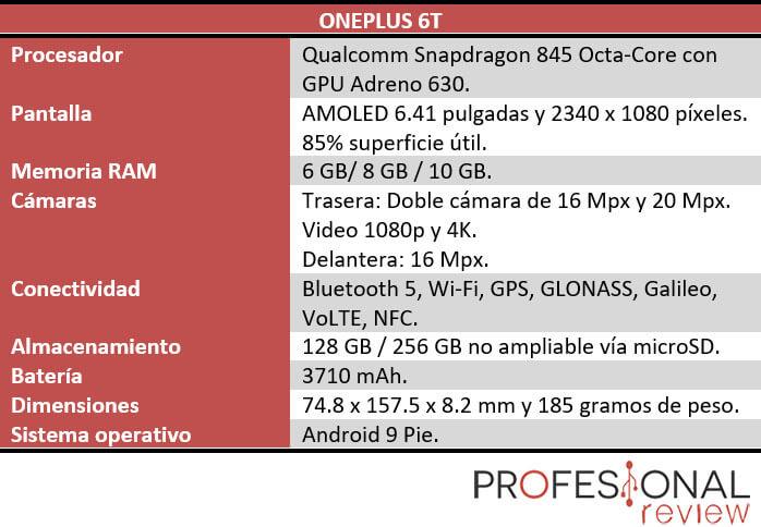 OnePlus 6T caracteristicas tecnicas