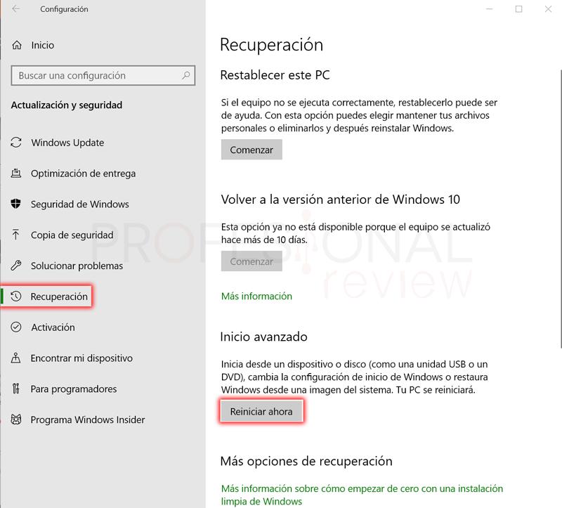 Cómo acceder a la BIOS con Windows 10 paso 03