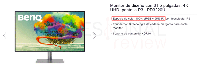 Espacio de color de un monitor