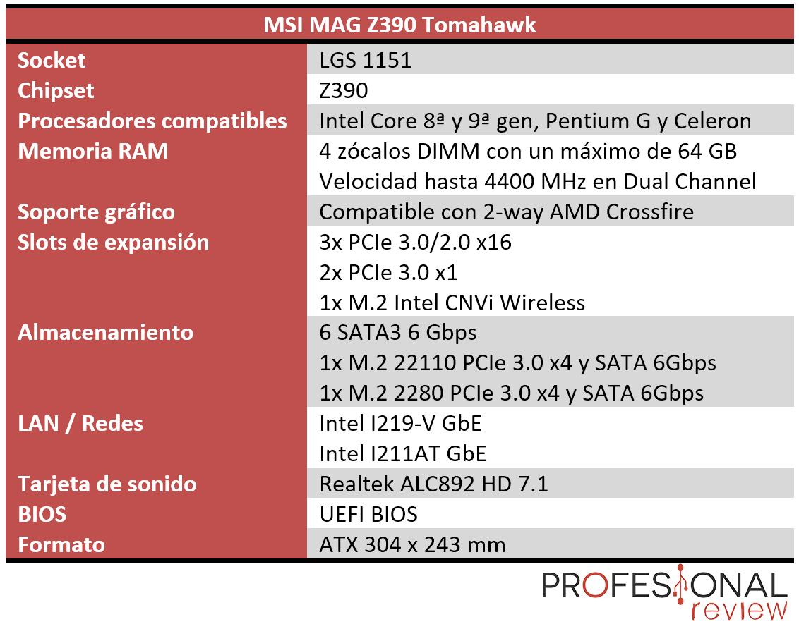 MSI MAG Z390 Tomahawk características