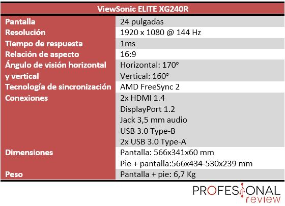 ViewSonic ELITE XG240R características