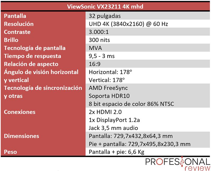 ViewSonic VX23211 4K mhd características