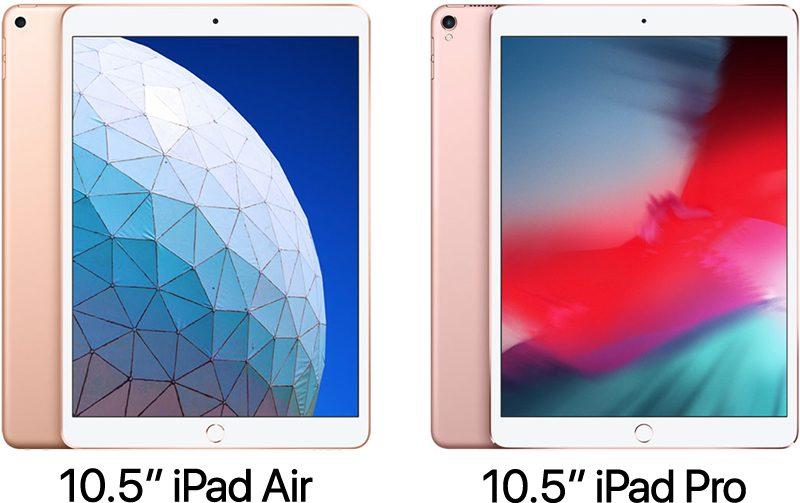 """iPad Air de 10,5"""" (2019) vs. iPad Pro de 10,5"""" (2017)"""