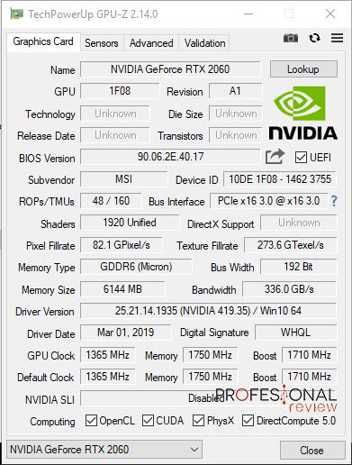 MSI Infinite S GPU