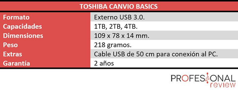 toshiba canvio basics 4tb caracteristicas tecnicas