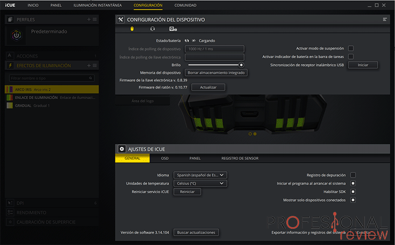 Corsair IRONCLAW RGB Wireless software