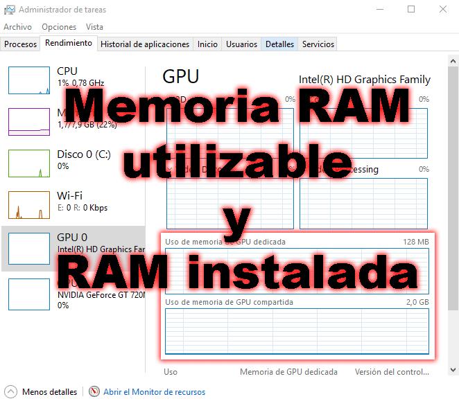 Memoria RAM utilizable y RAM instalada