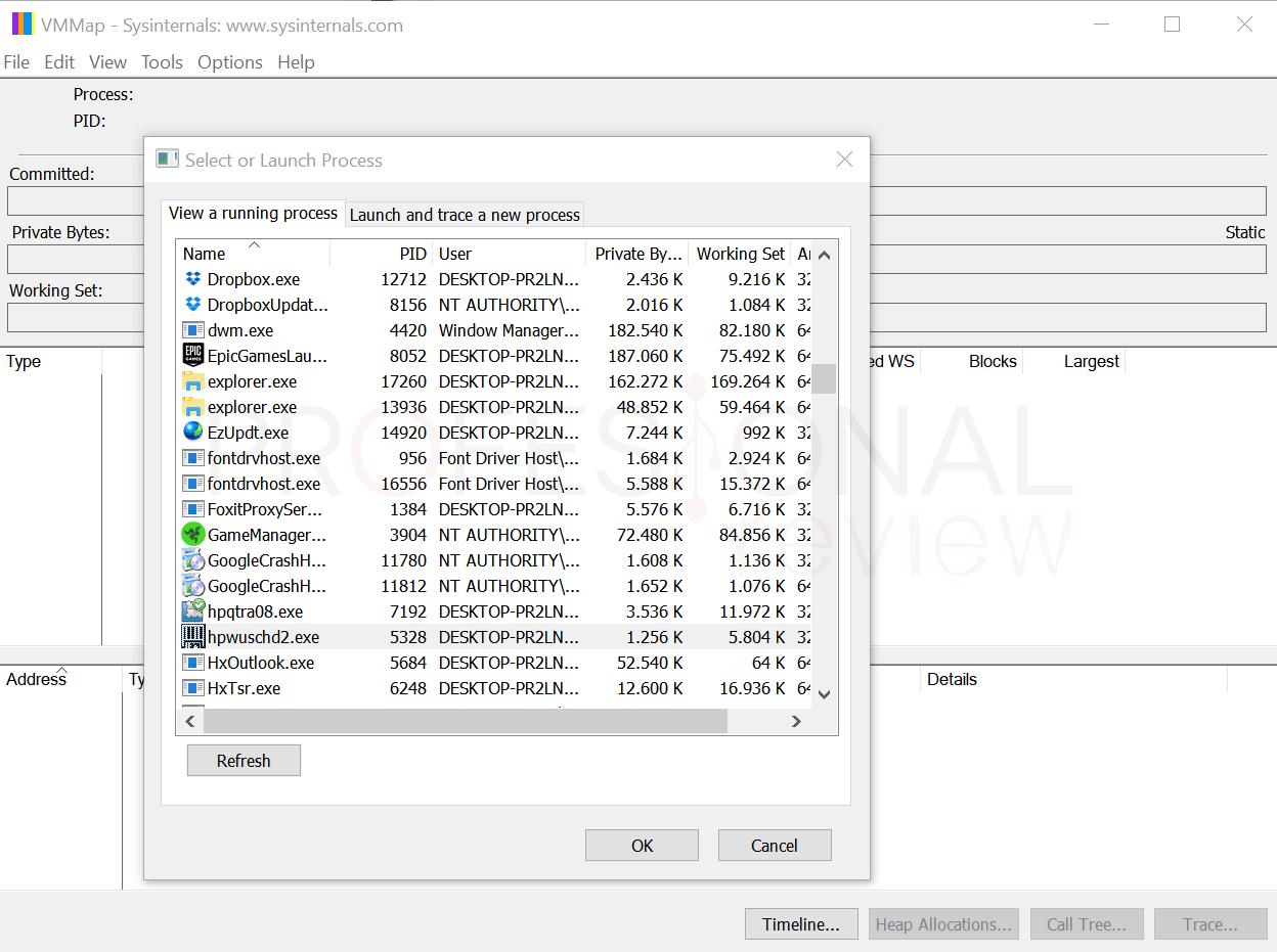 Test memoria RAM VMMap