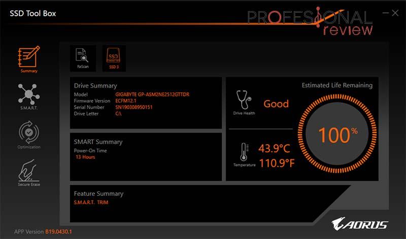 AORUS RGB M.2 NVMe SSD 512GB software