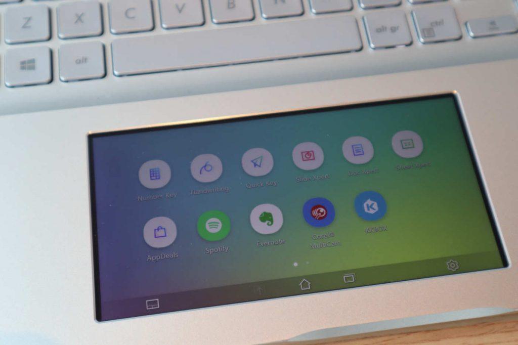 Pantalla de opciones Screenpad 2.0