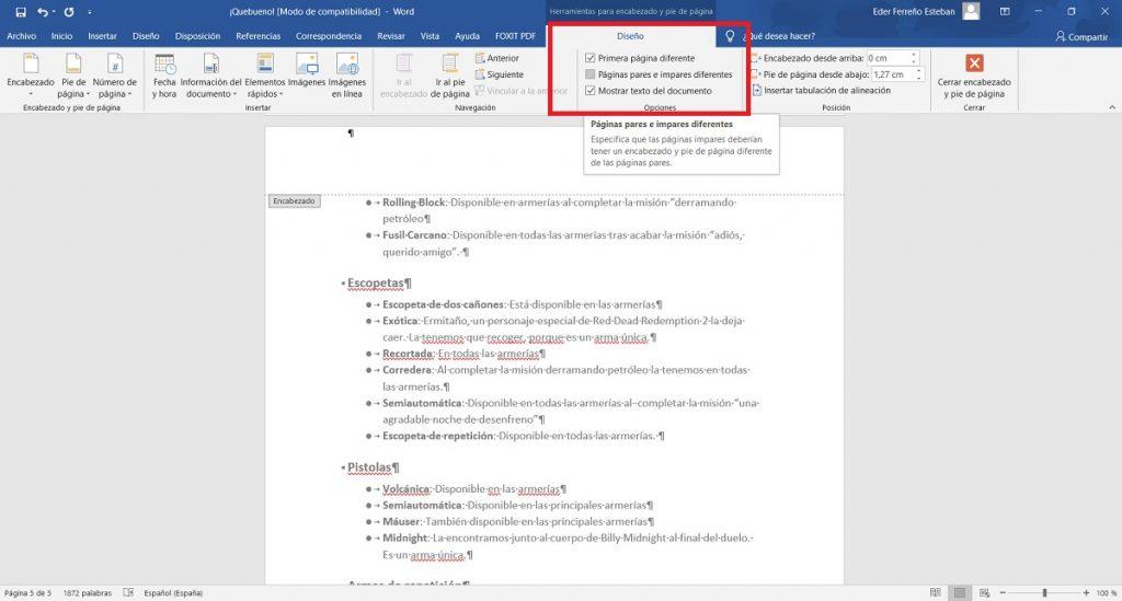 Enumerar paginas en Word