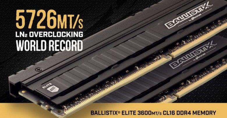 Photo of La memoria Ballistix Elite 3600 alcanza el récord de OC con 5726MT/s