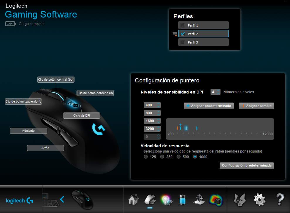 ratón logitech perfil