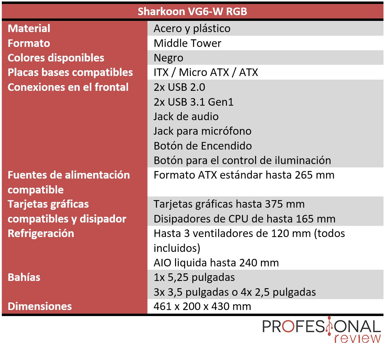 Sharkoon VG6-W RGB Características
