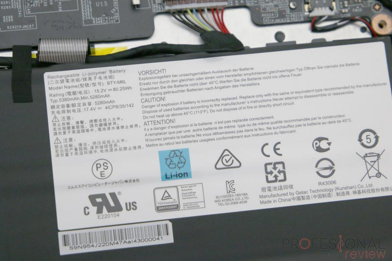 MSI PS63 Modern 8RC batería