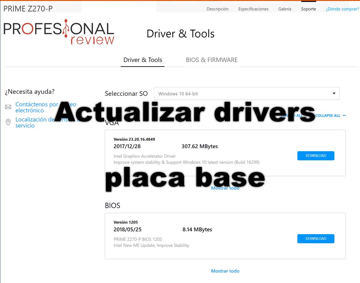 Actualizar Drivers placa base