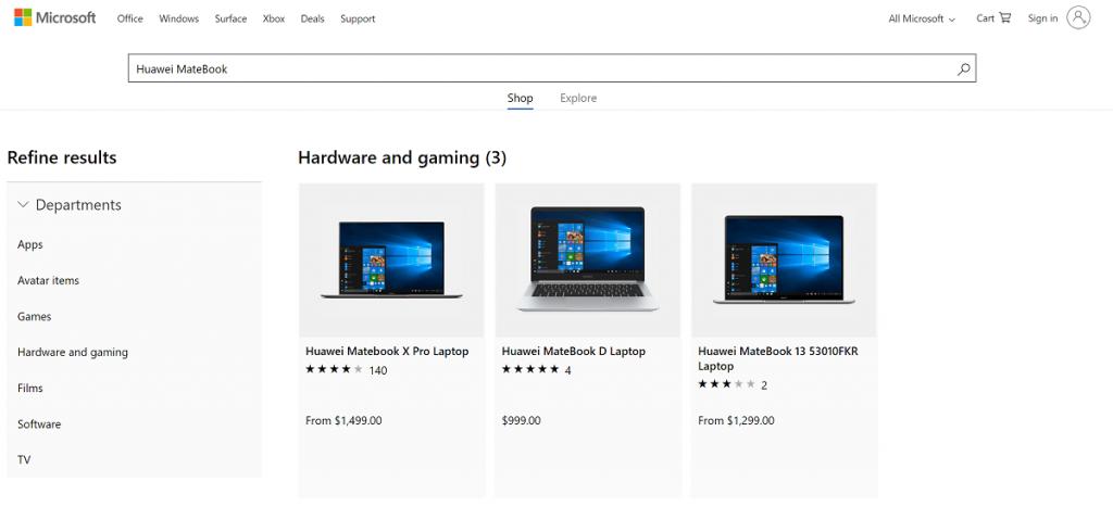 Huawei portatiles Microsoft Store