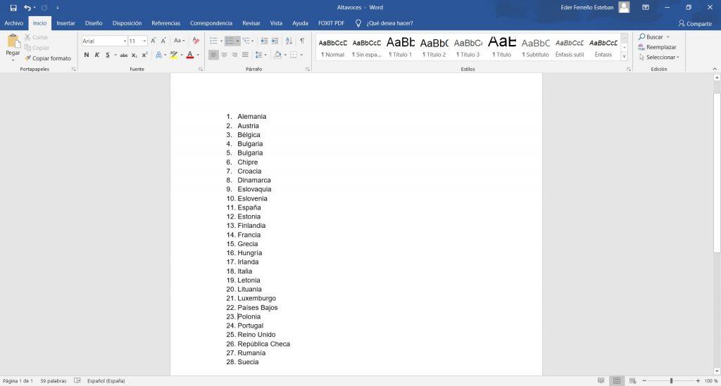 Ordenar lista en Word