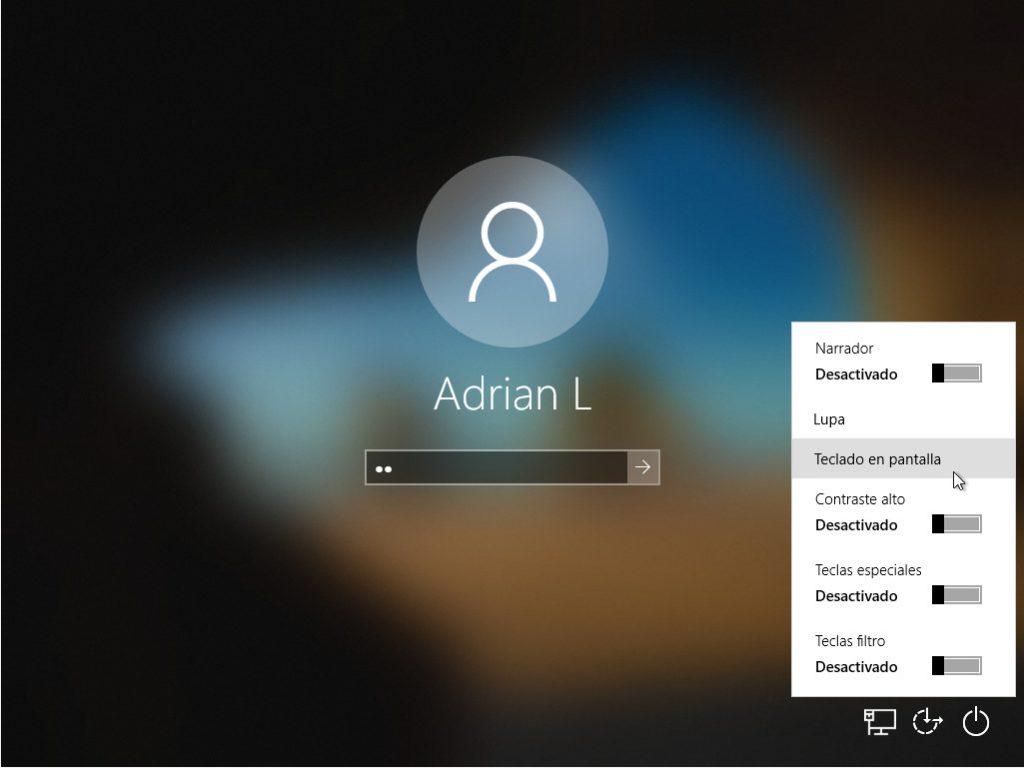 opción teclado virtual