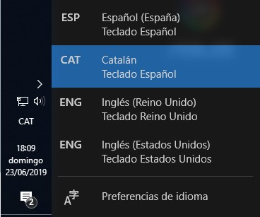 Diferentes opciones de idiomas disponibles