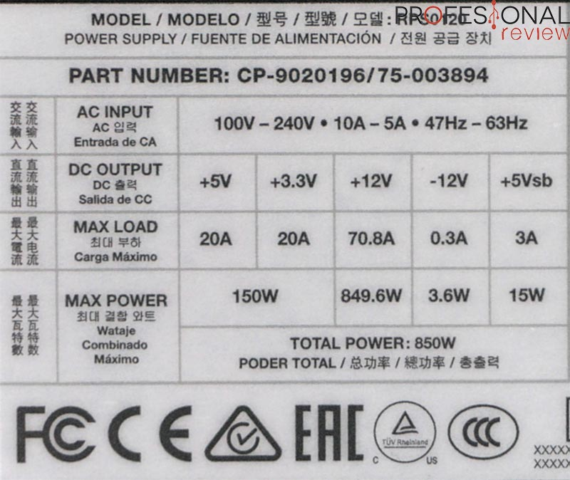 Corsair RM850 etiqueta energética