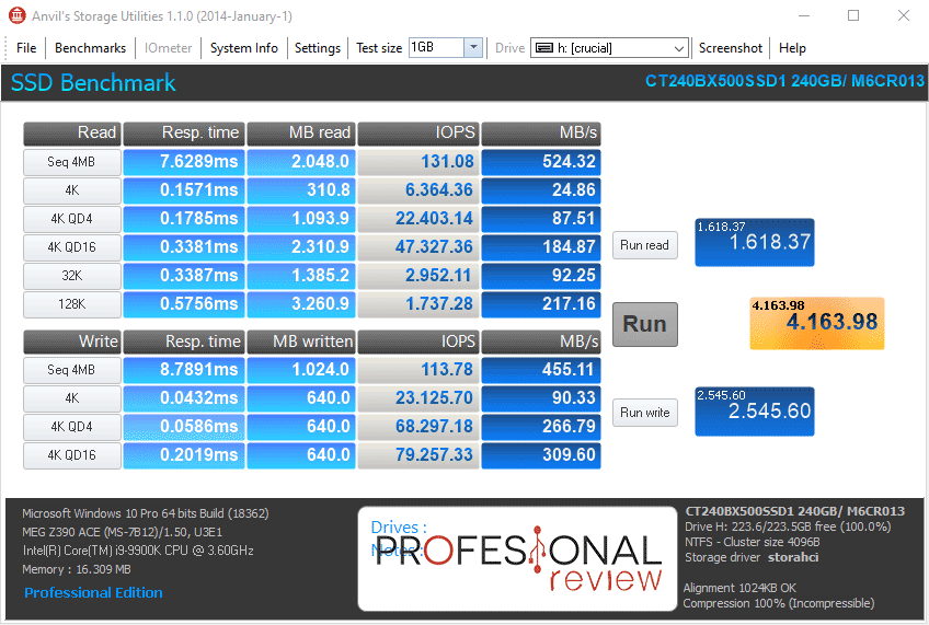 Crucial BX500 benchmark